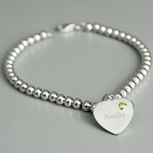 Personalised Sterling Silver and 9ct Gold Heart Bracelet-OurPersonalisedGifts.com
