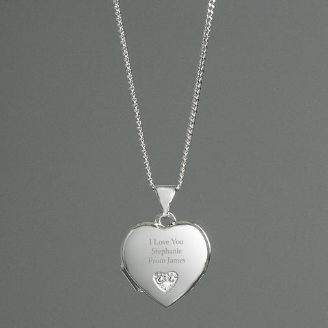 Personalised Sterling Silver & Cubic Zirconia Heart Locket Necklace-OurPersonalisedGifts.com