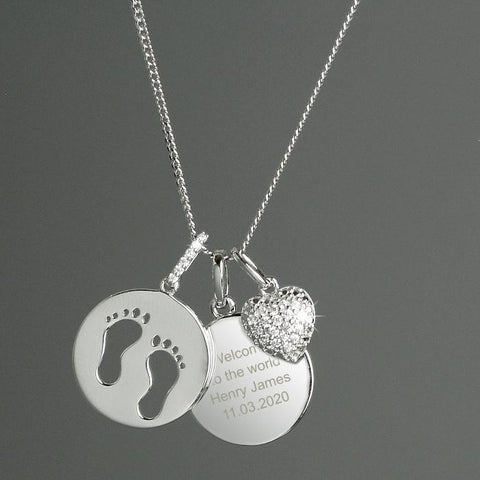 Personalised Sterling Silver Footprints and Cubic Zirconia Heart Necklace-OurPersonalisedGifts.com