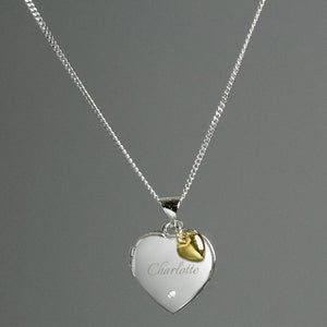 Personalised Sterling Silver Heart Locket Necklace with Diamond and 9ct Gold Charm-OurPersonalisedGifts.com