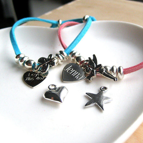 Personalised Suede Charm Bracelet-OurPersonalisedGifts.com