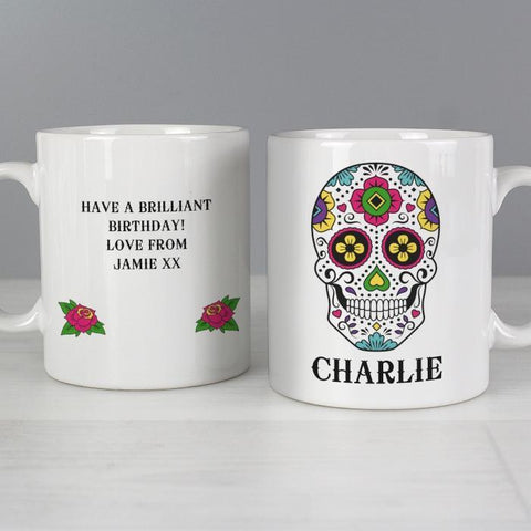 Personalised Sugar Skull Mug-OurPersonalisedGifts.com
