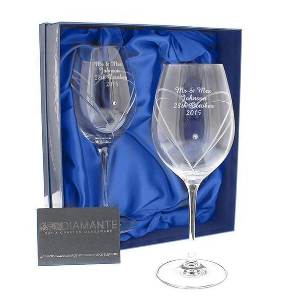 Personalised Swarovski Heart Wine Glasses with Gift Box-OurPersonalisedGifts.com
