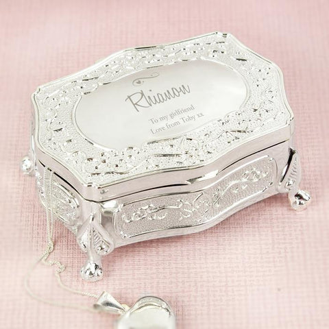 Personalised Swirls & Hearts Antique Trinket Box-OurPersonalisedGifts.com