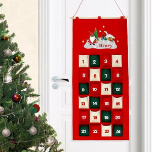Personalised Tartan Santa Felt Advent Calendar-OurPersonalisedGifts.com