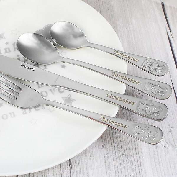 Personalised Teddy 4 Piece Cutlery Set-OurPersonalisedGifts.com