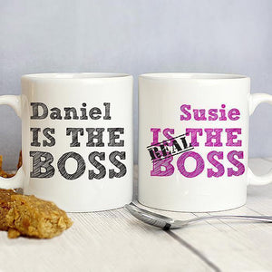 Personalised The Real Boss Mug Set-OurPersonalisedGifts.com