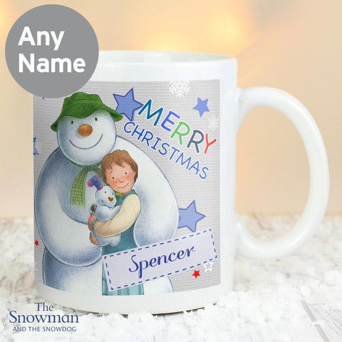 Personalised The Snowman and the Snowdog Blue Mug-OurPersonalisedGifts.com