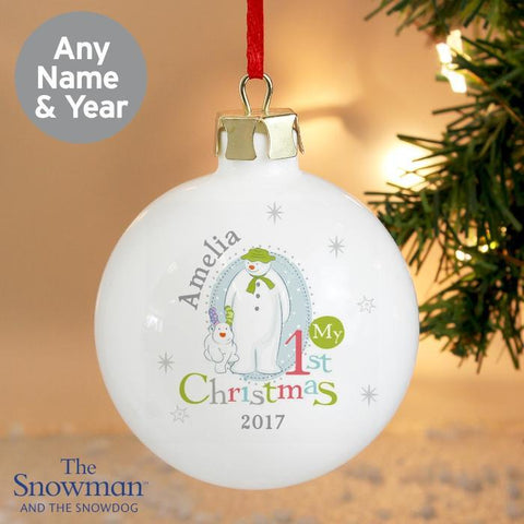 Personalised The Snowman and the Snowdog My 1st Christmas Bauble-OurPersonalisedGifts.com