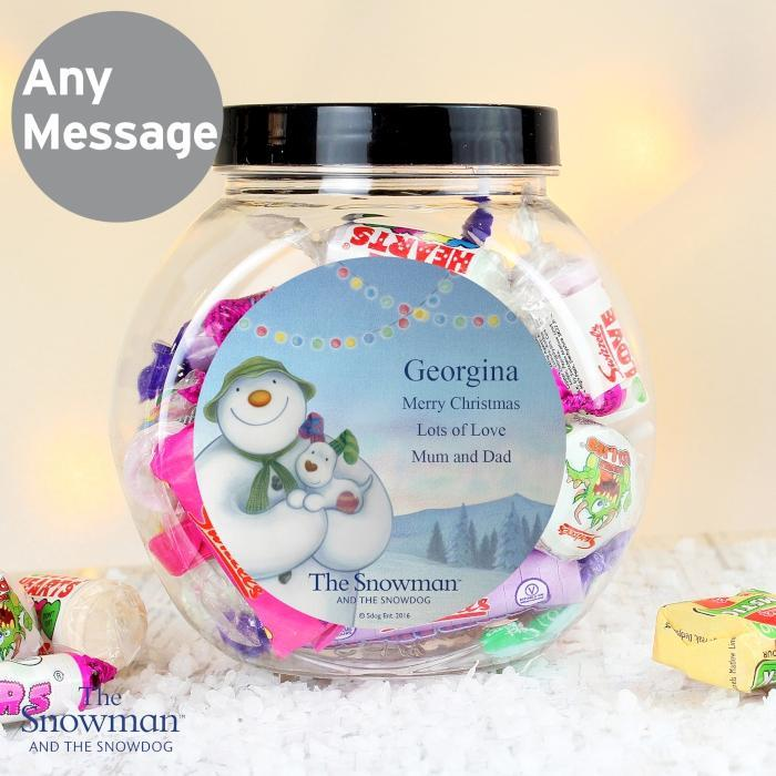 Personalised The Snowman and the Snowdog Sweets Jar-OurPersonalisedGifts.com