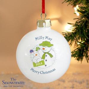 Personalised The Snowman and the Snowdog Year Bauble-OurPersonalisedGifts.com