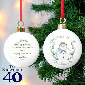 Personalised The Snowman Winter Garden Bauble-OurPersonalisedGifts.com