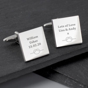 Personalised Tie the Knot Square Cufflinks-OurPersonalisedGifts.com