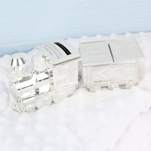 Personalised Train Money Box with Tooth & Curl Trinket-OurPersonalisedGifts.com