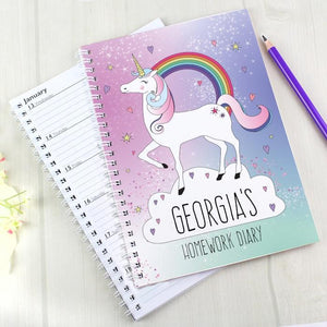 Personalised Unicorn A5 Diary-OurPersonalisedGifts.com
