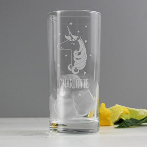 Personalised Unicorn Engraved Hi Ball Glass-OurPersonalisedGifts.com