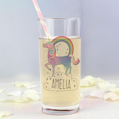 Personalised Unicorn Hi Ball Glass-OurPersonalisedGifts.com