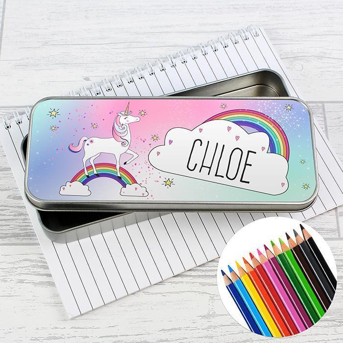 Personalised Unicorn Pencil Tin with Pencil Crayons-OurPersonalisedGifts.com