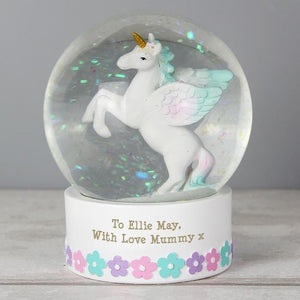 Personalised Unicorn Snow Globe-OurPersonalisedGifts.com