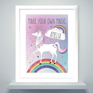 Personalised Unicorn White Framed Print-OurPersonalisedGifts.com
