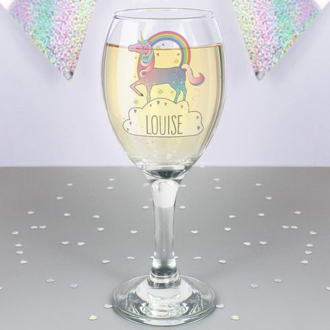 Personalised Unicorn Wine Glass-OurPersonalisedGifts.com