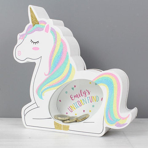 Personalised Unicorn Wooden Money Box-OurPersonalisedGifts.com