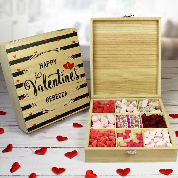 Personalised Valentine Wooden Sweet Box-OurPersonalisedGifts.com