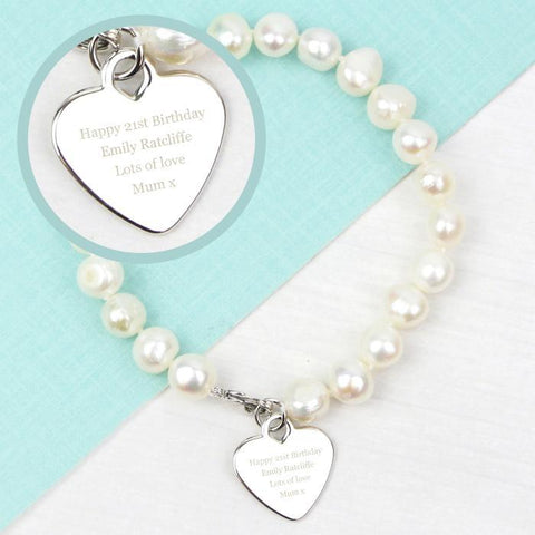 Personalised White Freshwater Pearl Bracelet-OurPersonalisedGifts.com