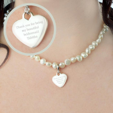 Personalised White Freshwater Pearl Necklace-OurPersonalisedGifts.com