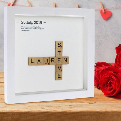 Personalised Wooden Letter Tiles Hand Finished Frame-OurPersonalisedGifts.com