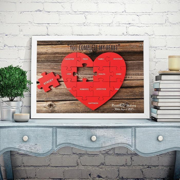 Personalised You Complete My Heart Framed Print-OurPersonalisedGifts.com