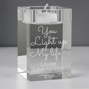 Personalised You Light Up My Life Glass Tea Light Holder-OurPersonalisedGifts.com