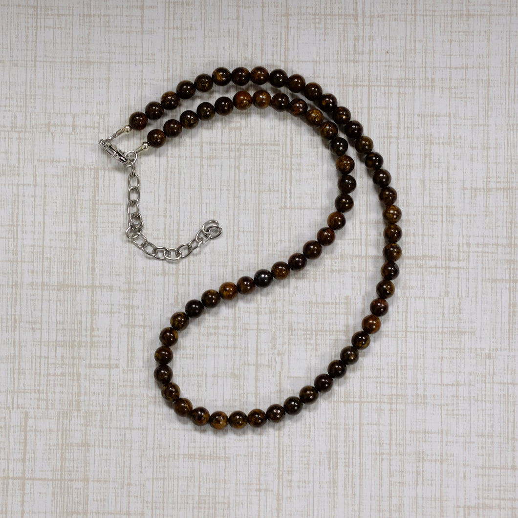 6mm Bronzite Beaded Necklace