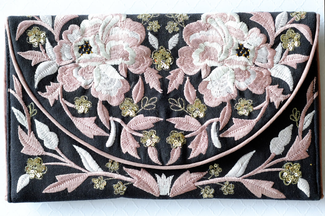 Black and Pink Embroidered Clutch