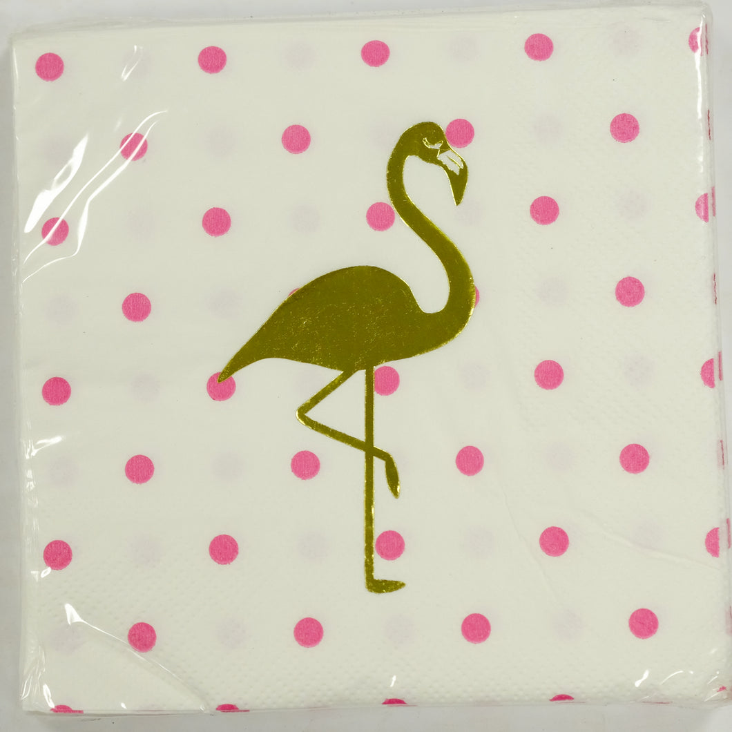 Flamingo Foil Beverage Napkins