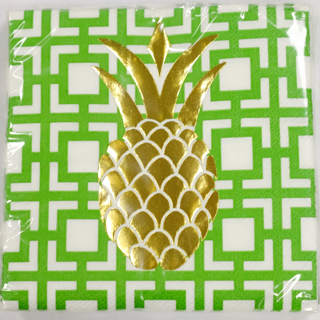 Foil Pineapple Beverage Napkins