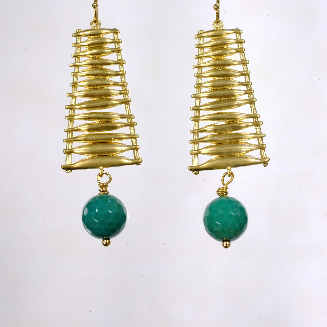 Gold and Turquoise Drop Earring