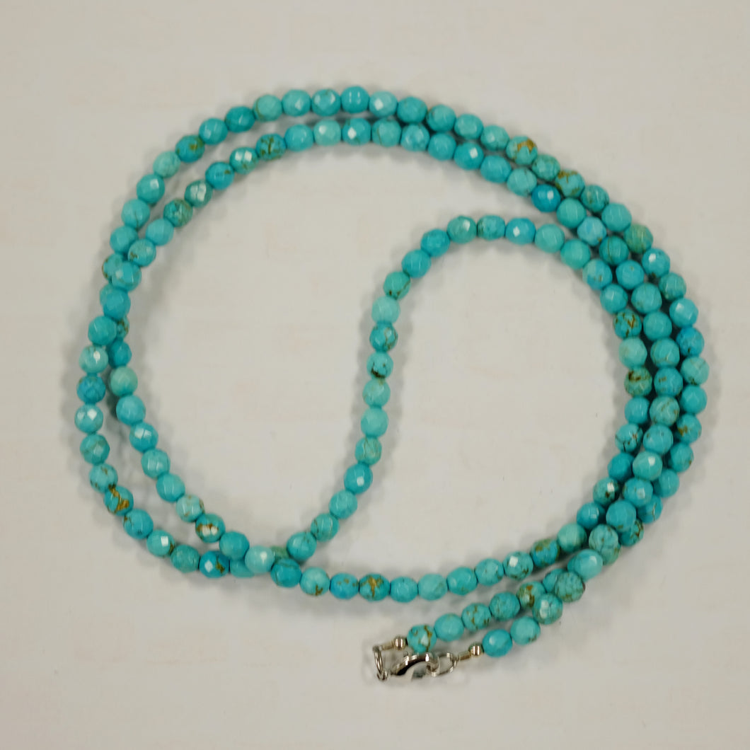 Long 5mm Turquoise Faceted Beads