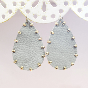 Medium Gray Leather Drop Earrings