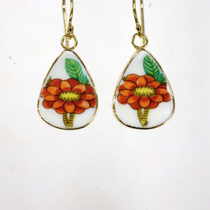 Red Floral Teardrop Earrings