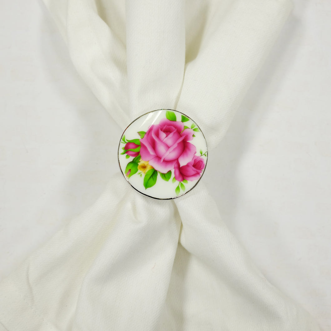 Set of 2 Fuchsia Floral Napkin Rings