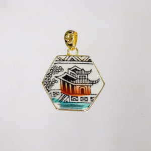 Small Hexagon Pagoda Pendant