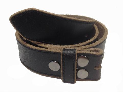 Black Vintage Distressed Leather Belt Strap