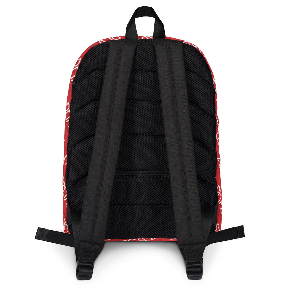 PU RED PATTERN BACKPACK