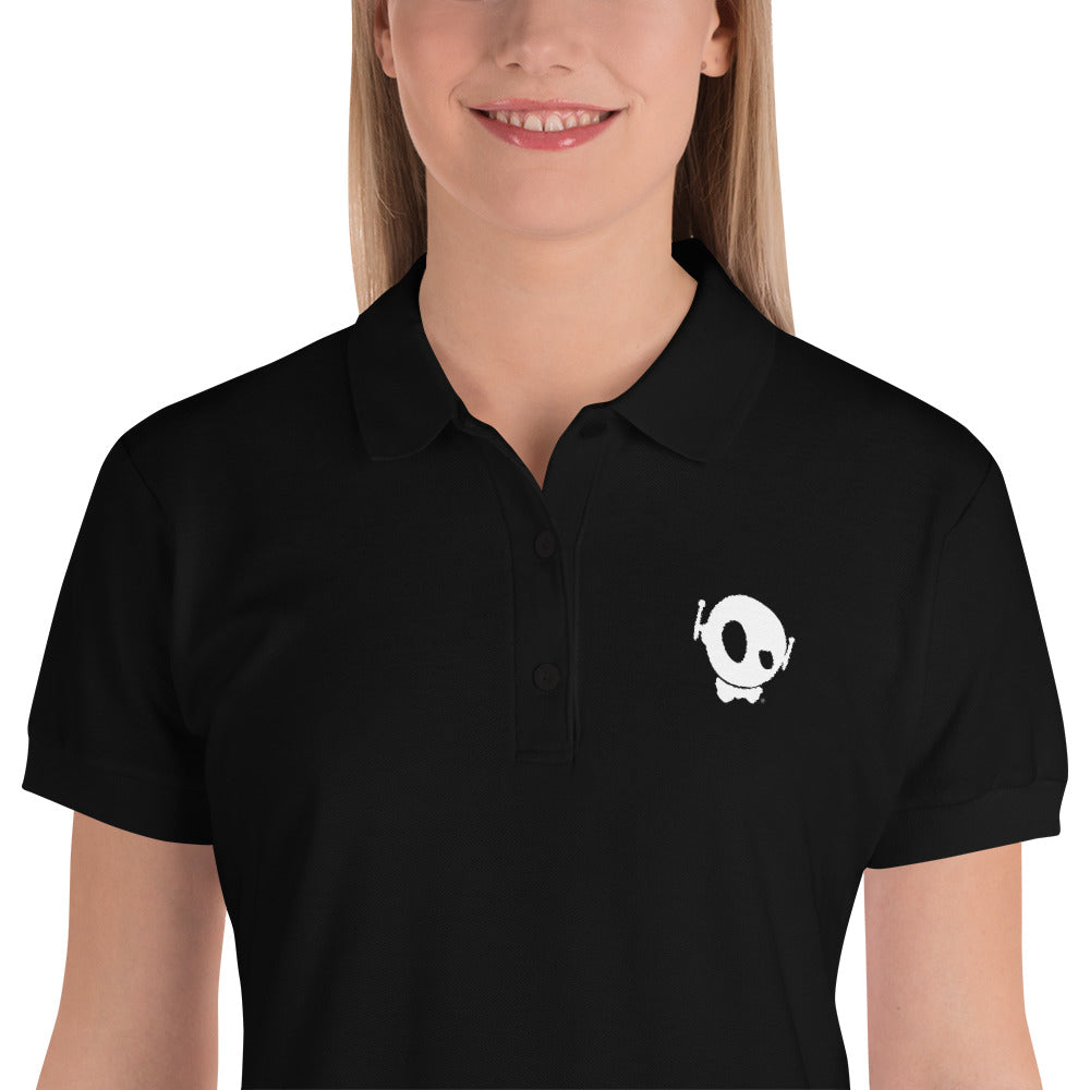 PU EMBROIDERY WOMEN POLO BLACK