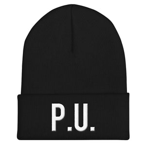 PU LABELED BLACK BEANIE