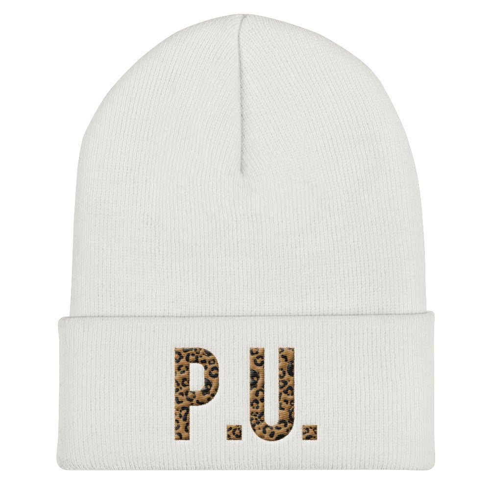 PU LEOPARD LABELED WHITE BEANIE