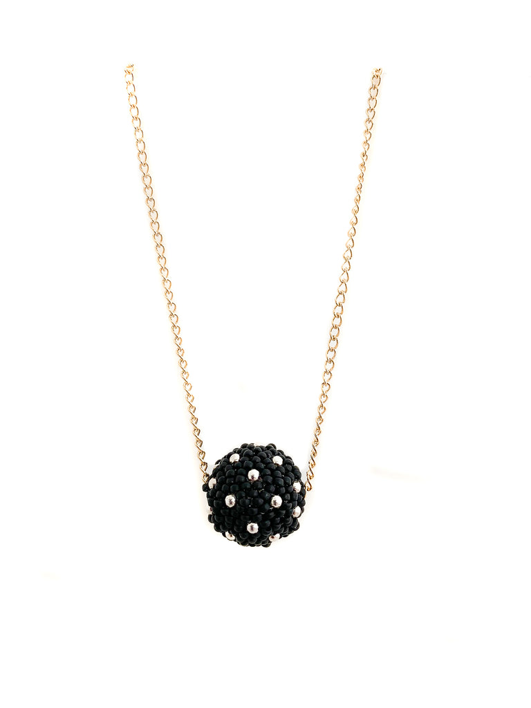 Black and Silver Poppin Dot Necklace