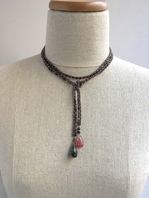 Rhodonite and Gunmetal Lariat