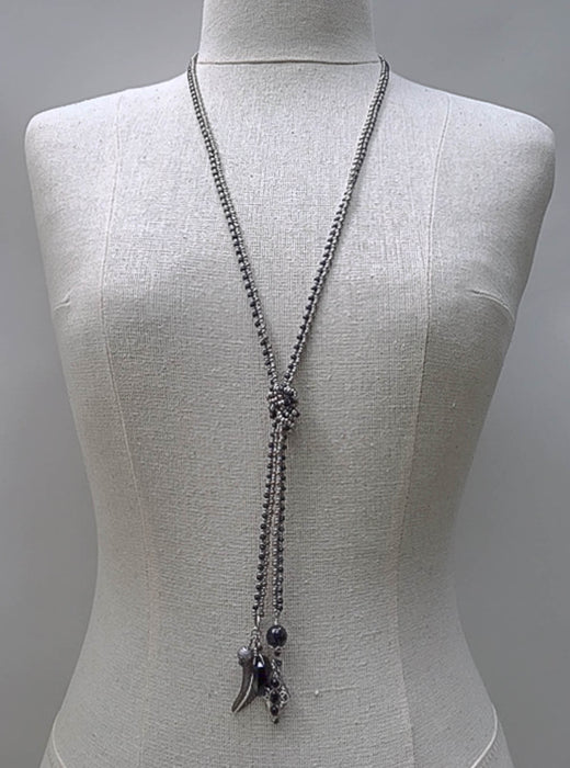 Sterling Silver and Seed Bead Lariat
